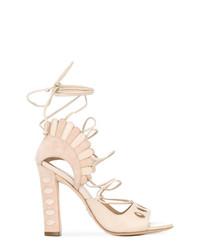 Sandales à talons en daim beiges Paula Cademartori