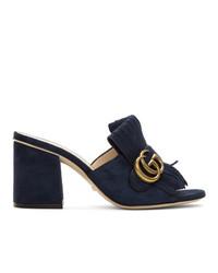 Sandales à talons en daim bleu marine Gucci