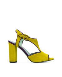 Sandales à talons en daim chartreuses