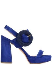 Sandales à talons en daim épaisses bleu marine Twin-Set