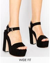 Sandales à talons en daim épaisses noires Asos