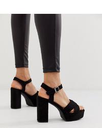 Sandales à talons en daim épaisses noires Glamorous