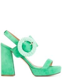 Sandales à talons en daim épaisses vert menthe Twin-Set