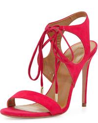 Sandales à talons en daim fuchsia