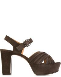 Sandales à talons en daim gris foncé