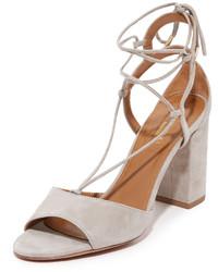 Sandales à talons en daim grises Aquazzura
