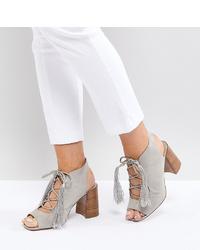 Sandales à talons en daim grises ASOS DESIGN