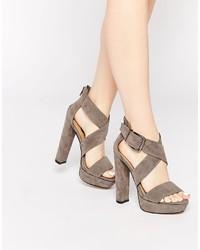 Sandales à talons en daim grises Daisy Street