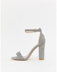 Sandales à talons en daim grises Glamorous