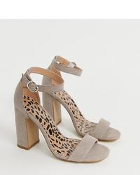 Sandales à talons en daim grises New Look