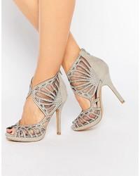 Sandales à talons en daim grises True Decadence