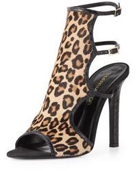 Sandales à talons en daim imprimées léopard marron clair