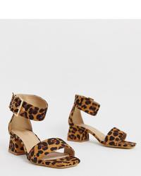 Sandales à talons en daim imprimées léopard tabac Raid Wide Fit