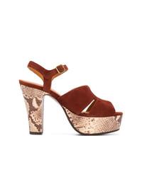 Sandales à talons en daim imprimées serpent marron Chie Mihara