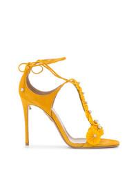 Sandales à talons en daim jaunes Aquazzura