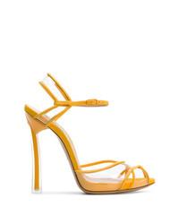 Sandales à talons en daim jaunes Casadei