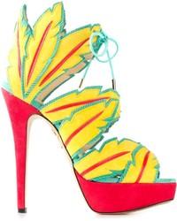 Sandales à talons en daim jaunes Charlotte Olympia