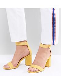 Sandales à talons en daim jaunes Raid Wide Fit
