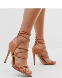 Sandales à talons en daim marron clair Missguided