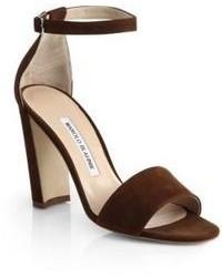 Sandales à talons en daim marron foncé