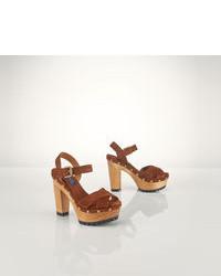 Sandales à talons en daim marron
