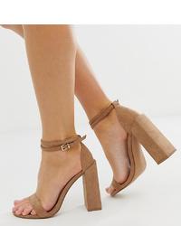 Sandales à talons en daim marron ASOS DESIGN