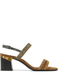 Sandales à talons en daim marron Lanvin
