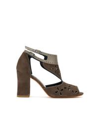 Sandales à talons en daim marron Sarah Chofakian