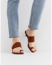Sandales à talons en daim marron Vagabond