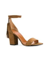Sandales à talons en daim marron Via Roma 15