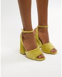 Sandales à talons en daim moutarde ASOS DESIGN