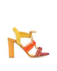 Sandales à talons en daim multicolores