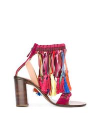 Sandales à talons en daim multicolores Chloé