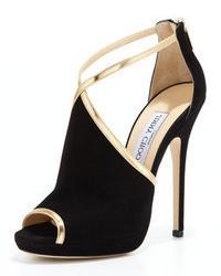 Sandales à talons en daim noir et doré