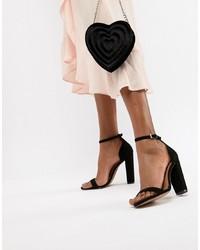 Sandales à talons en daim noires ASOS DESIGN