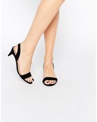Sandales à talons en daim noires Asos