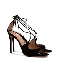 Sandales à talons en daim noires Aquazzura