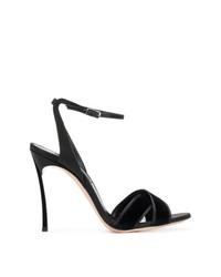 Sandales à talons en daim noires Casadei