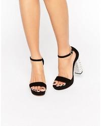 Sandales à talons en daim noires Dune