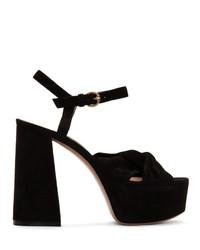 Sandales à talons en daim noires Gianvito Rossi