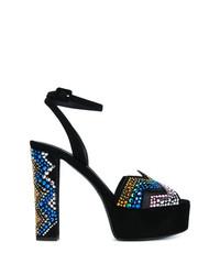 Sandales à talons en daim noires Giuseppe Zanotti Design