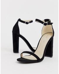 Sandales à talons en daim noires Glamorous