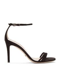 Sandales à talons en daim noires Gucci