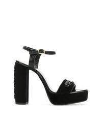 Sandales à talons en daim noires Lanvin
