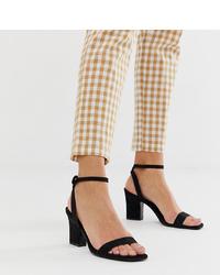 Sandales à talons en daim noires Mango