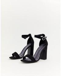 Sandales à talons en daim noires New Look