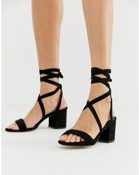 Sandales à talons en daim noires Public Desire