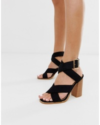 Sandales à talons en daim noires RAID