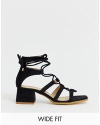 Sandales à talons en daim noires Raid Wide Fit