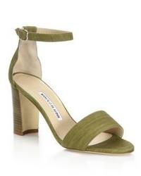 Sandales à talons en daim olive